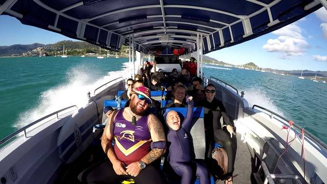 ZigZag Whitsundays departing airlie beach with excited people