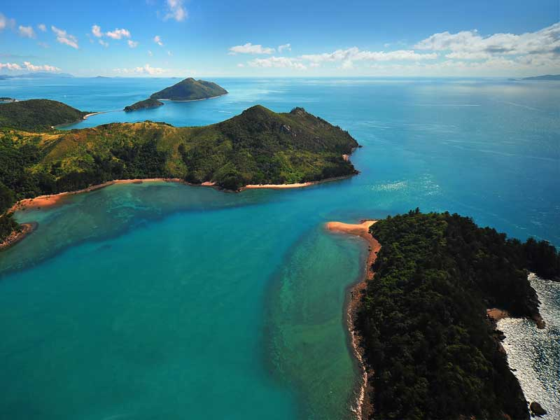 aerial view of the Whitsundays Islands taken by drone