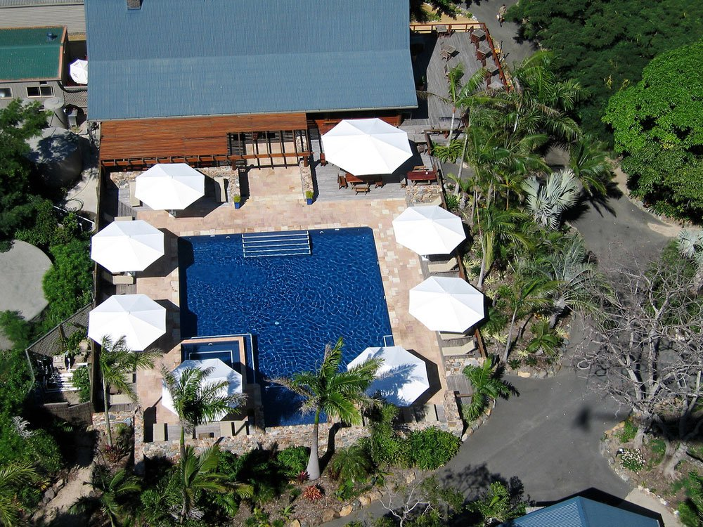 aerial of the resort pool