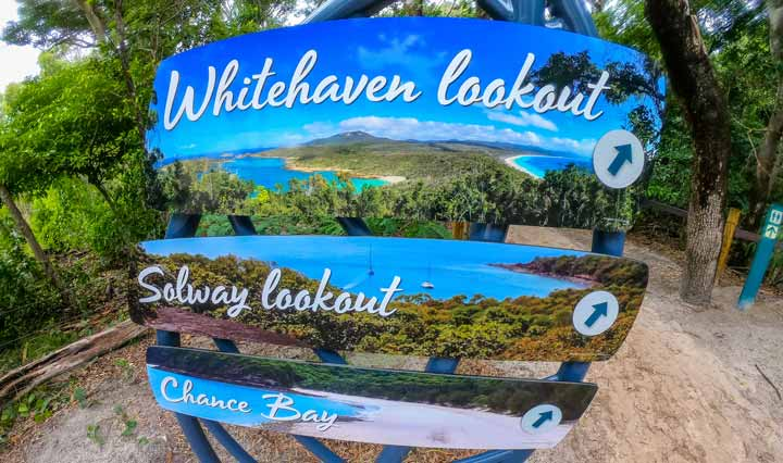 South Whitehaven Beach Lookout Sign for the start of the walking track